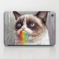 Cat Tastes the Grumpy Rainbow | Watercolor Painting iPad Case
