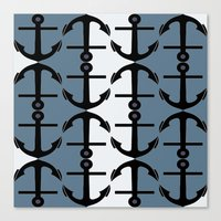 Anchors: Teal, White and Perrywinkle Canvas Print