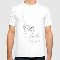 Half-a-Basquiat: One line Mens Fitted Tee White SMALL