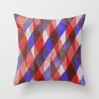 Red and Blue Diagonals Throw Pillow
