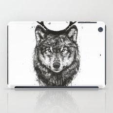 Deer wolf (b&w) iPad Case