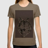 Let The Wolf In! Womens Fitted Tee Tri-Coffee SMALL