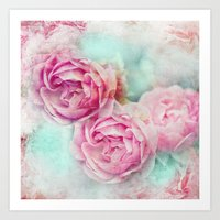 RED ROSES FOR THE LADY Art Print