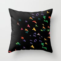 Colorful flying birds group Throw Pillow
