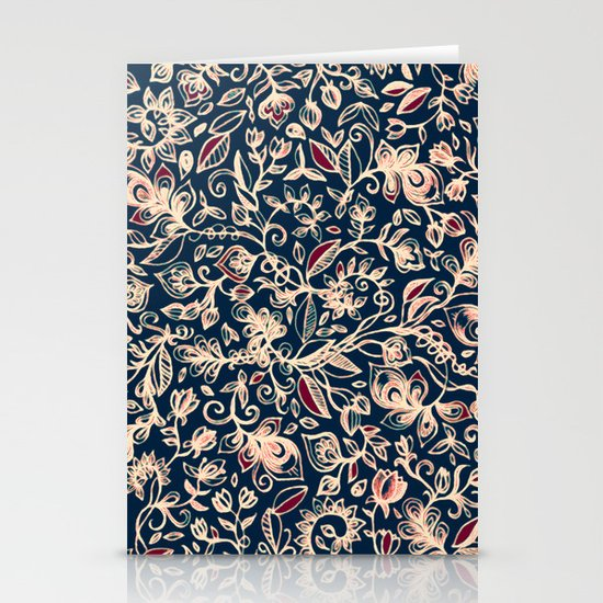 Navy Garden - floral doodle pattern in cream, dark red & blue Stationery Card