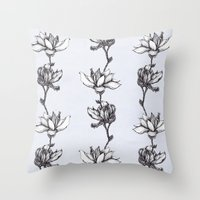 Magnolia in black and white Throw Pillow
