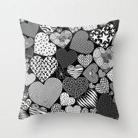 Love Hearts Doodle Art P… Throw Pillow