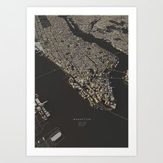 Manhattan city map Art Print