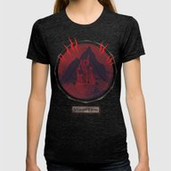 Mountain Of Madness (red… Womens Fitted Tee Tri-Black SMALL