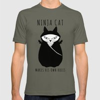 Ninja Cat Mens Fitted Tee Lieutenant SMALL