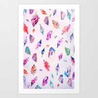 Watercolour Crystals  Art Print