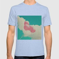 Happy Pink Balloons on retro blue sky  Mens Fitted Tee Athletic Blue SMALL