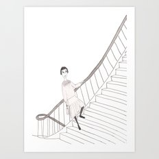 girl on a stair Art Print
