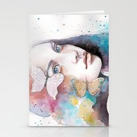 Lady With A Butterfly Stationery Cards