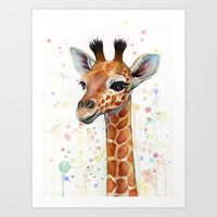 baby Art Prints featuring Giraffe Baby by Olechka