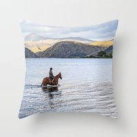 Horse At Airds Bay Loch … Throw Pillow
