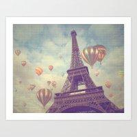 Balloons Over Paris Art Print