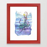 Bath Time Octopus Framed Art Print