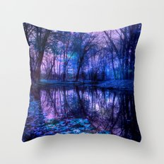 Enchanted Forest Lake Throw Pillow