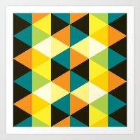 Teal, mustard, black & yellow triangles Art Print