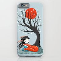 iPhone Cases featuring Girl and a Fox 2 by Freeminds