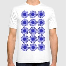 vintage flowers blue  SMALL White Mens Fitted Tee