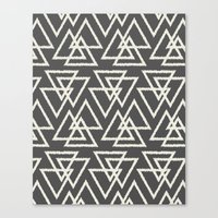 Trilogy Triangles-Dark Gray & Cream Canvas Print