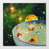Screaming Children in Pool Canvas Print