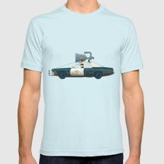 The Blues Brothers Bluesmobile 3/3 Mens Fitted Tee Light Blue SMALL