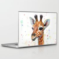 giraffe Laptop & iPad Skins featuring Giraffe Baby by Olechka