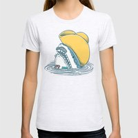 Funny Hat Shark Womens Fitted Tee Ash Grey SMALL