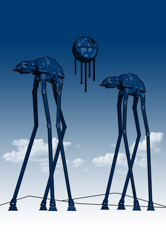 Dali's Mechanical Elephants - Blue Sky Canvas Print