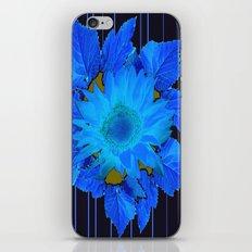 Decorative Blue Flowers Black floral Design iPhone & iPod Skin