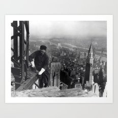 Construction worker Empire State Building NYC Art Print