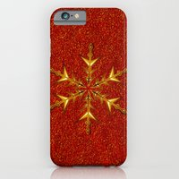 Golden Snowflake on Red Glitters iPhone 6 Slim Case