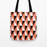 Salmon & black triangle mid-century pattern Tote Bag