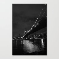 Manhattan Night Black & White Canvas Print