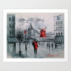 Romance In Paris Art Print