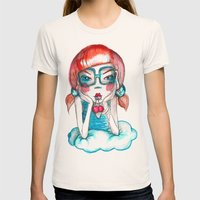 girl with cherry Womens Fitted Tee Natural SMALL