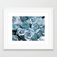 Ocean Blue Roses Framed Art Print