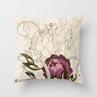 Peach And Purple  Artich… Throw Pillow