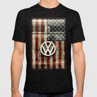 VW Retro US Flag Mens Fitted Tee Tri-Black SMALL