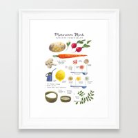 illustrated recipes: moroccan mint vegetables Framed Art Print