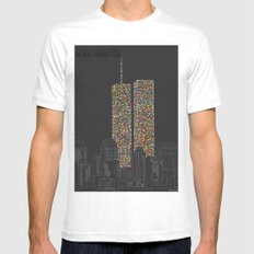 2606 Souls compose The Twin Towers Mens Fitted Tee SMALL White
