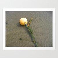 Yellow Buoy Bobbing On T… Art Print