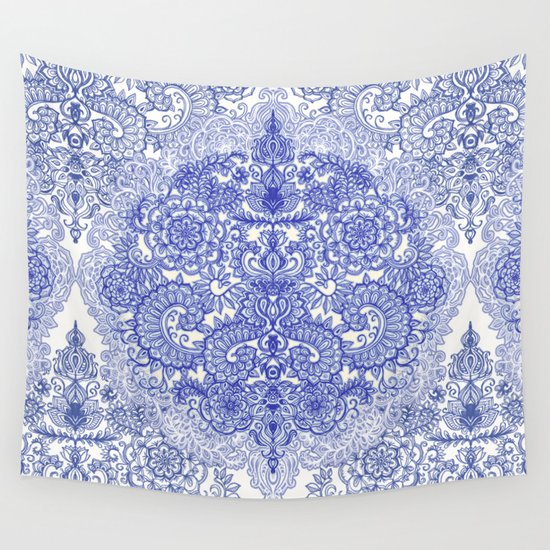 happy place doodle in cornflower blue white grey wall tapestry by micklyn society6. Black Bedroom Furniture Sets. Home Design Ideas