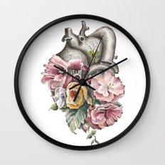 Floral Anatomy Heart Wall Clock
