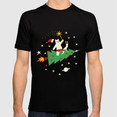 Space christmas Mens Fitted Tee Black SMALL