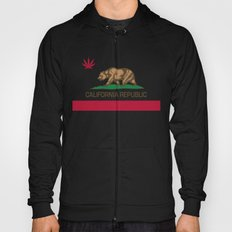 California Republic state flag with red Cannabis leaf Hoody