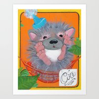 Hedgehog Party Art Print
